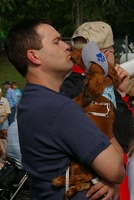 Wiener dog kiss