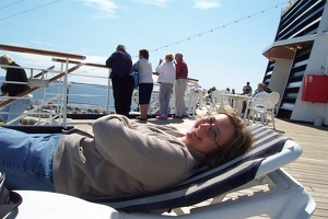 Kay relaxing on deck