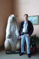 Kevin with giant model of hoary marmot