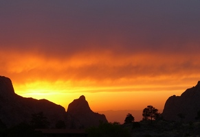 Chisos Mountains Lodge and Sunset