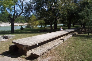 Very long picnic table