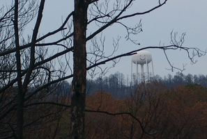 Water tower smiles down on burned forest