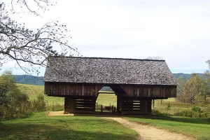 Cantilevered barn in Cades Cove