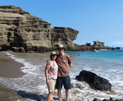Kay and Kevin on the green sand beach