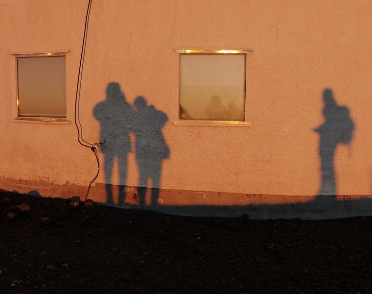 Our shadows as sunset approaches
