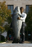 Man and fish statue