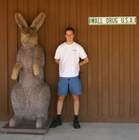 Kevin with giant rabbit