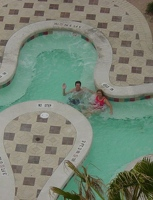 Enjoying the hot tub
