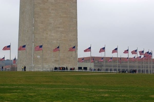 Flags around Washington Monument