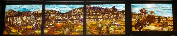 Stained glass image of Badlands