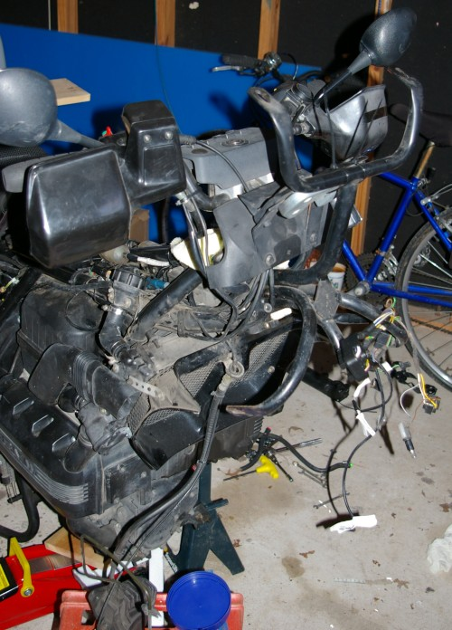 Disassembled motorcycle